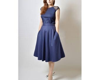 JULY 20 OFF Midi skirt, Navy Blue Skirt, Flared Skirt with pockets, 50s Skirt