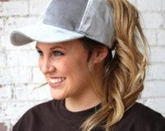 Ponytail Hat - CC Pony Hat - Velvet Hat Monogram - Personalized Cap - Winter Velour Hat - Messy Bun Hat - Women's Adult Hat - Gift for Her