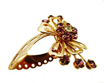 Purple Rhinestone Brooch - Flower - Gold Bow - mid century  pin