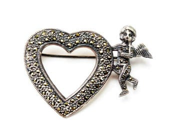 Sterling Heart Brooch - Sterling Silver - Marcasite - Cupid pin