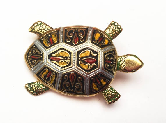 Damascene Turtle  Brooch - Signed Spain - Black Silver red yellow green Gold - Enameling  - Animal Figurine Pin