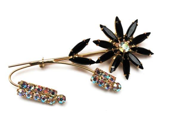 Rhinestone  Flower Brooch  -  black facet crystals petals - Aurora borealis - Floral pin