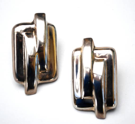 Sterling rectangle Earrings - Signed Mexico - Modern Modernistic - Large Hallow silver pierced earring