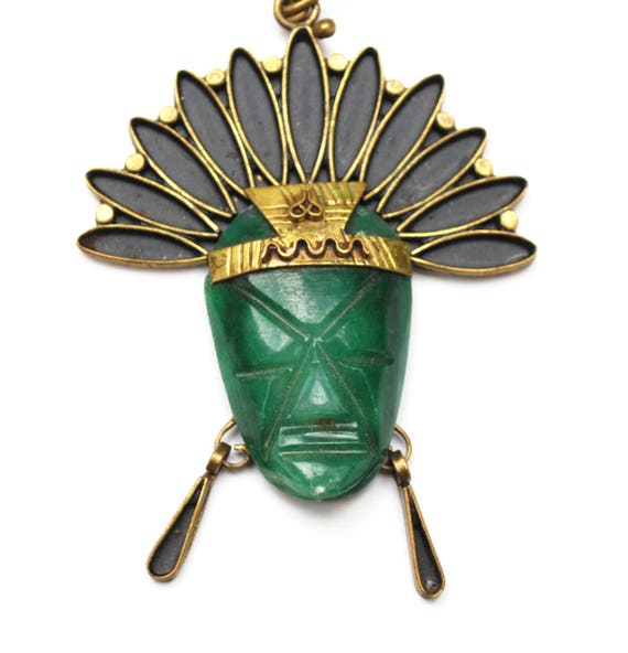 Green Onyx Mask Necklace - Signed Mexico -Brass-  Tribal Aztec - Carved  gemstone gemstone - Boho Face head dress pendant