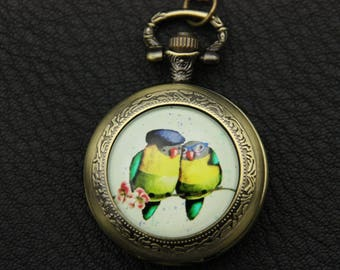 Necklace Pocket watch two owls
