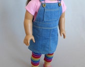 Denim jumper with knit t-shirt and striped leggings for American Girl dolls: denim, pink, stripes, overall fasteners