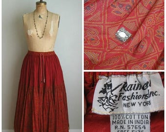 Summer Clearout Indian Cotton Boho Cotton Skirt// Mirrors// Festival// Size Medium/Large//
