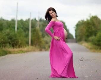Belinda Maternity Dress,SPLIT Skirt,Long Sleeves, Maternity Photography Prop, Maternity Photography Prop