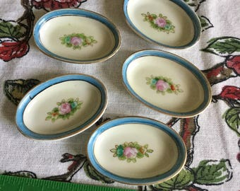5 Vintage Noriake Morimura Japan-Nut Cups-Butter Pats/Nut Dishes-White/Platinum Trim