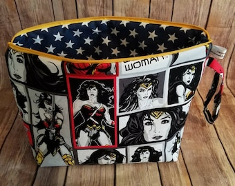 UnRaveled Bag Made With Wonder Woman Fabric Large Project Bag Wet Bag Knitting Crochet Zippered Toiletry Makeup Bag
