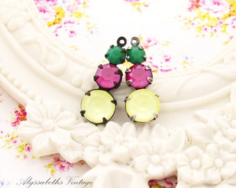 Swarovski Rhinestone Dangles Matte Yellow & Peony Pink with Apple Green Triple Set Stone Drops 23mm Brass, Black or Silver Ox Settings - 2