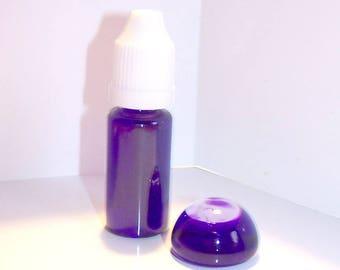 10 ml bottle of liquid glass to fill clear dark purple