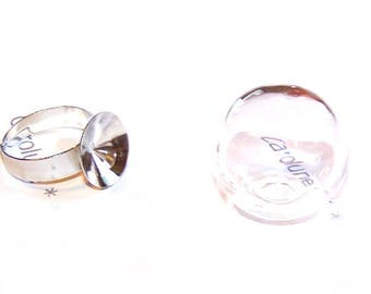 1 kit ring globe ball 20 mm glass to fill and a silver ring