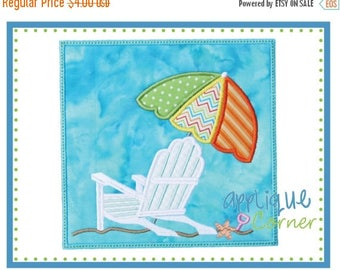 50% Off Beach Chair Umbrella for Summer Patch applique digital design for embroidery machine by Applique Corner