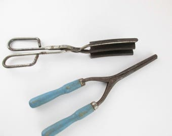 Hair Styling History - Two Vintage Curling Irons - Hair Dresser - Hair History - Crimping/Curling Irons - Vintage Hair - Wood and Metal