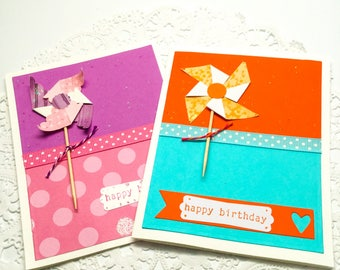 Paper pinwheel birthday cards - pink and purple - orange and blue - yellow and orange