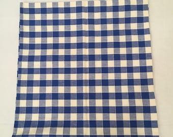 "Blue and White Madras Plaid Square Cotton Tablecloth 50"" x 52"" Xochi India"