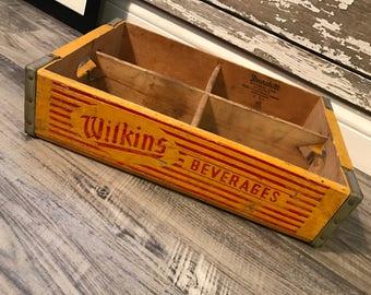 Vintage 1953 Wilkens Beverages Wood Soda Pop Crate Jamestown NY