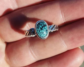 Natural turquoise ring size 8 sterling silver