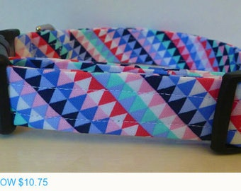 "Sale - 50% Off Dog Collar - Colorful Modern Geometric Dog Collar ""Priscilla"" - Free Colored Buckles"