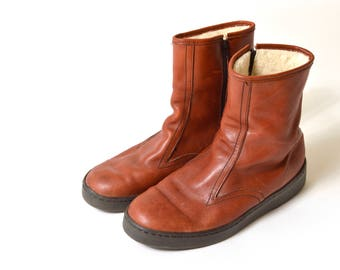 80s Brown Leather Zip Up Ankle Boots Wool Lined Distressed Bates Floaters Womens 9
