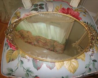 large vintage vanity mirror tray