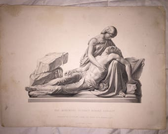 Victorian Steel Engraving The Monument to Percy Bysshe Shelley Engraved by G Stodart