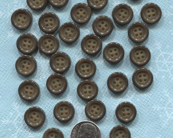 Set of 28 Vintage Brown Plastic Buttons-( 1/2 inch)- Item# 544