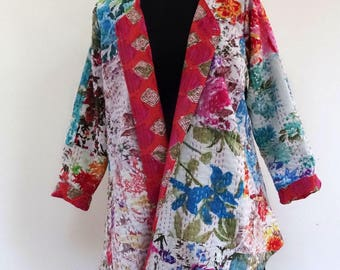 Jacket with collar crossover gaudri white and multicolor patchwork cotton.