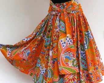 Orange and multicolor paisley cotton, 45 pieces designs MIDI skirt