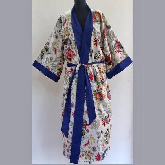 kimono robe de chambre homme ou femme blanc et multicolore en