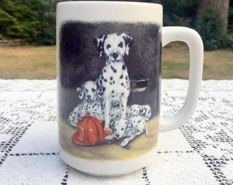 Dalmatian Coffee Mug/ Otagiri Dalmatian Mug/ Firefighter Gift/ Dalmatian Puppies/ Firehouse Dog Mug/Linda Picken Design/Otagiri Dog Mug