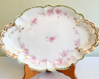 "Haviland Limoges/French Limoges Platter/Pink Floral Limoges/15.75"" Serving Platter/Limoges Oblong Platter/1930s Haviland Limoges/Handpainted"