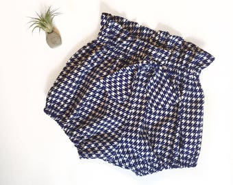 Navy Houndstooth Print High Waisted Bloomers Shorts Ready to Ship Size 12-18 mo