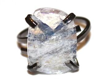 Raw Moonstone Ring Raw Stone Adjustable Ring Natural Stone Ring Slab Ring Blue Moonstone Jewelry Rustic Ring Crystal Ring Moonstone Slice