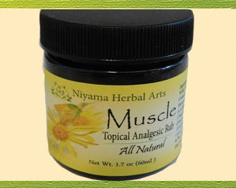 Muscle Salve, 1.7 ounce, 100% Natural, Intense Analgesic Rub - FAST ACTING
