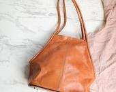 Tan colored leather bag | Sturdy leather purse | Natural color handbag | Tan handbag purse