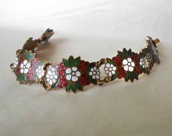 Vintage Bracelet Enameled Brass link Red White floral Flowers Green Leaves