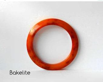 CIJ SALE Vintage Bakelite Bangle Bracelet  Orange with Marbled Red