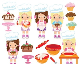ON SALE INSTANT Download. Cb_1_Baking girl. Baking girl clip art. Personal and commercial use.