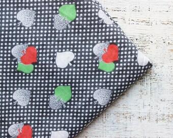 Vintage cotton fabric 4.33 yards in 1 listing Soviet grey white red green polka dot chintz