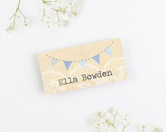Blue Ombre Bunting Folded Wedding Place Card