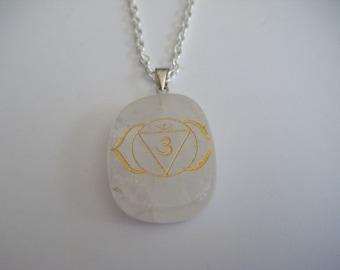 Spiritual Inspirational Healing 3rd Eye Ajna Chakra Clear Quartz Pendant Necklace Wellness Oneness Cosmic Love Gemstone Eco Yoga Meditation