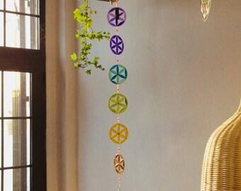 Yoga decoration, Set of 7 Chakras, Suncatcher,  Sacred geometry,  Hanging mobile