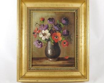 Oil Painting, Original, Elegant Gold Framed, Floral, Vase, Signed by H. Martin, World Art Association, Made in Holland, Masters of Color