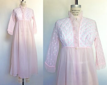 1960s Peignoir Robe Pink Floral Vintage 60s Lingerie Negligee Peignoir Chiffon White Lace / Small Medium