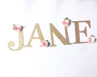 Glitter letters, glitter banner, name banner, birthday banner, wedding name banner, just married banner