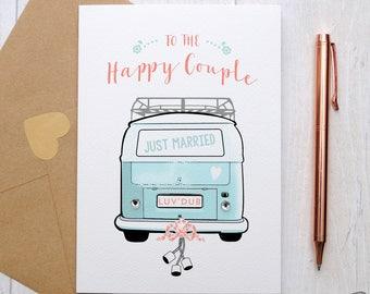 Happy Camper Couple Wedding Card with campervan