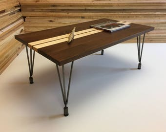 QUICK SHIP-Mid century modern coffee table, black walnut with heitpin legs. Contemporary coffee table.