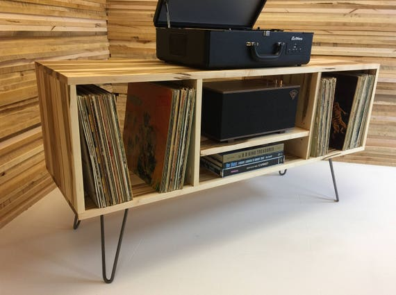 New Mid Century Modern Record Player Console, Turntable, Stereo Cabinet  With LP Album Storage, Wormy Maple With Steel Hairpin Legs.